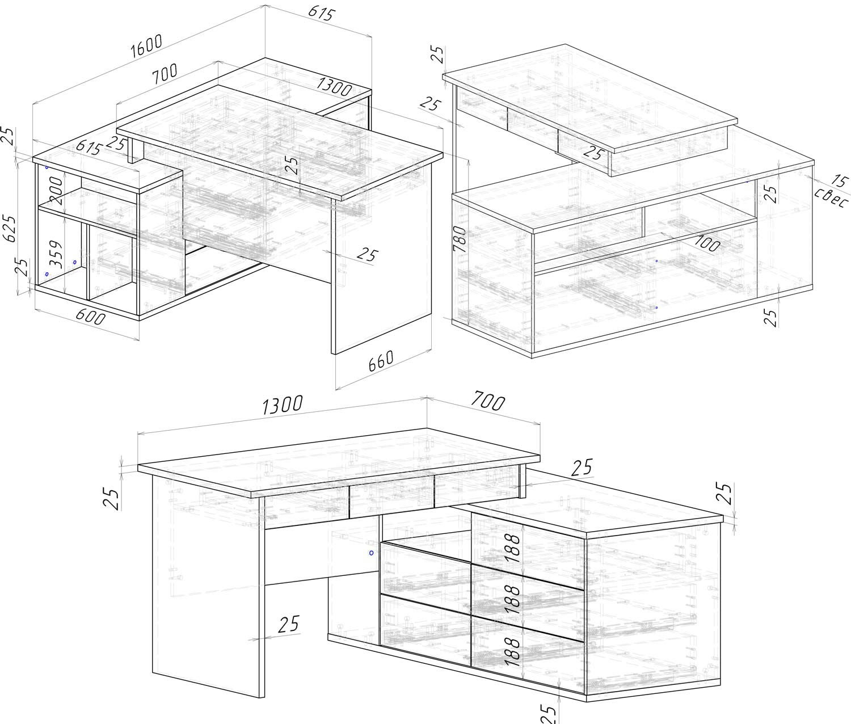 проект стола в кабинет на заказ